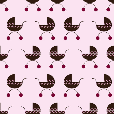 prams: Seamless pattern with repeating brown colored prams decorated with pink flowers with cherry colored wheel isolated on white background Illustration