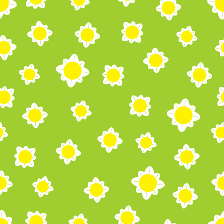 daisy wheel: Seamless pattern with chamomile flowers isolated light yellow background