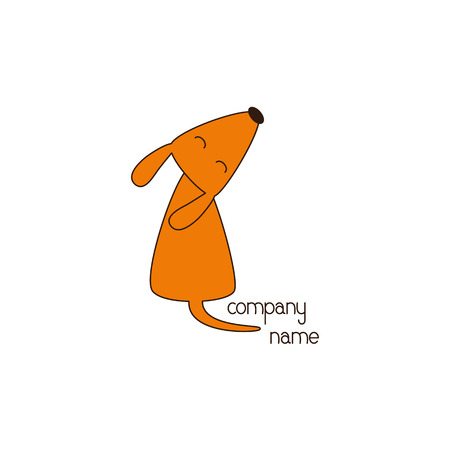 curled up: Stylized foxy colored dog sitting with its head up, closes eyes and curled tail and lettering company name near it isolated on white background. Logo template. Design element