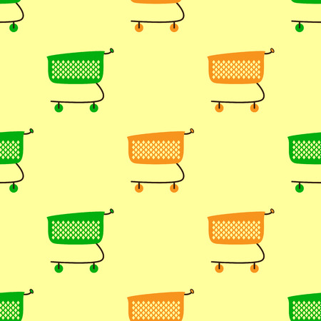 checkout line: Seamless pattern with empty green and orange colored plastic shopping cart isolated on yellow background