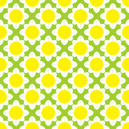daisy wheel: Seamless pattern with stylized cartoon chamomile flowers isolated light green background