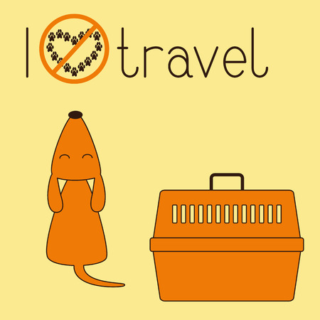 foxy: Cute brown contoured foxy colored howling dog sitting back with its head up and eyes closed, orange plastic pet carrier with brown handle and lettering I dislike travel isolated on ginger background. Concept illustration of pet carrying and traveling with