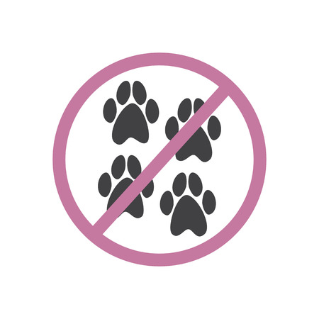 strikethrough: Four grey colored paw prints inside pink colored prohibition sign isolated on white background. Special sign for places where pets are not allowed. Logo template, design element