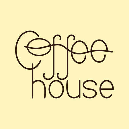flaxen: Brown colored lettering coffee house isolated on flaxen background. Logo template, design element