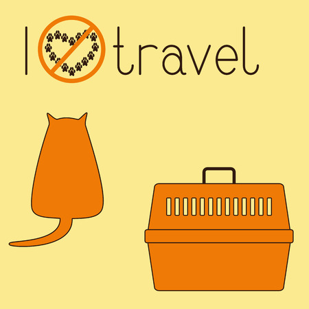foxy: Cute brown contoured foxy colored fat cat sitting back, orange plastic pet carrier with brown handle and lettering I dislike travel isolated on ginger background. Concept illustration of pet carrying and traveling with pets