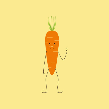 cartoon carrot: Cute cartoon carrot character with cropped green top as hair