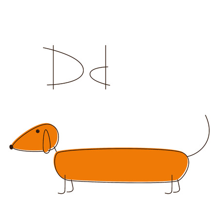 contoured: Brown contoured colored dachshund Illustration