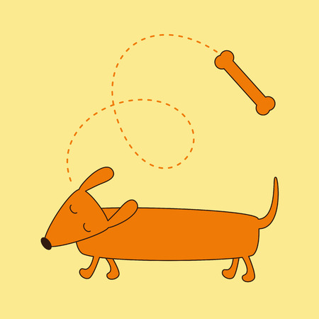 foxy: Brown contoured foxy colored dachshund with eyes closed Illustration