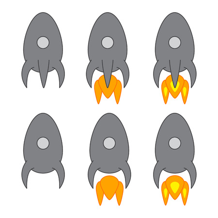 stargazing: Set of six grey colored space ships