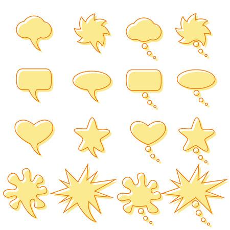 contoured: Fije con las burbujas del discurso y de ensue�o contorneadas de diferentes formas Vectores