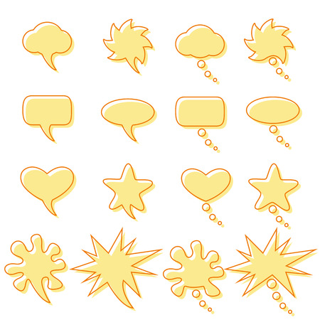 contoured: Set with contoured speech and dream bubbles of different shapes