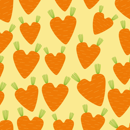 cartoon carrot: Seamless pattern with different size cartoon carrot in heart shaped Illustration