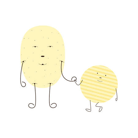 potato: Flat style illustration of light brown potato and chips characters