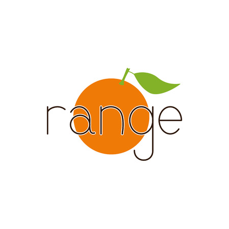 range fruit: Brown colored lettering range with white contour situated over bright orange fruit with big green leaf isolated on white background. Logo template, design element, vegetarian menu decoration. Flat style illustration
