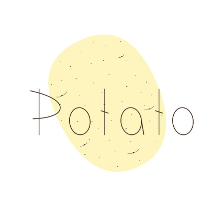 light brown: Light brown potato with brown lettering on white background
