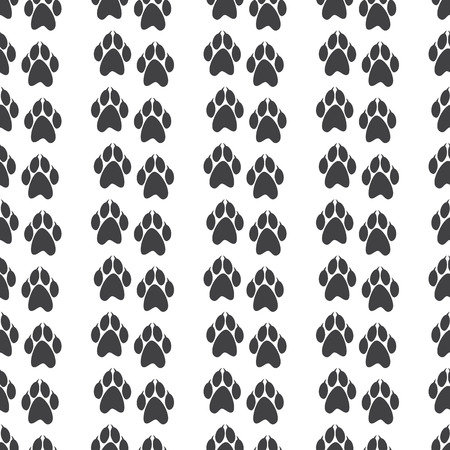 clutches: Seamless pattern with paw prints with clutches isolated on white background Illustration