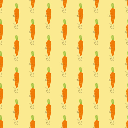 carrot nose: Seamless pattern with cute stylized cartoon carrot character with cropped green top as hair, big eye and smile, small nose, long hands and legs isolated on light yellow background Illustration