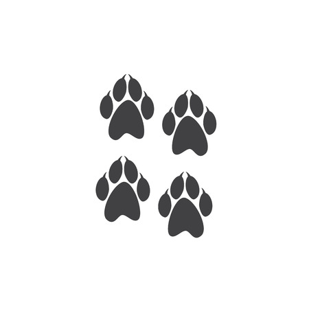 clutches: Four prints of paws with clutches it isolated on white background.  Illustration