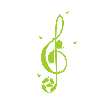 nesting box: Beautiful green colored treble clef with floral elements, nesting box and birds isolated on white background.