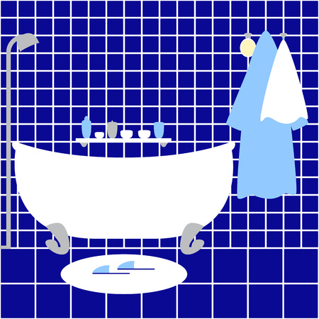bathrobe: Vintage bathroom interior with navy tile, grey shower, white bathtub and shelve over it, sponge, blue bathrobe and white towel on hanger, pair of slippers on oval mat. Flat style illustration Illustration