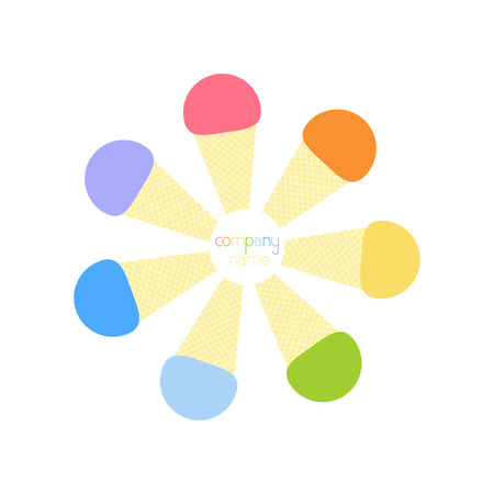 naming: Seven rainbow colored ice cream cones situated in the shape of circle with place for company name in the middle.  design element. Flat style illustration
