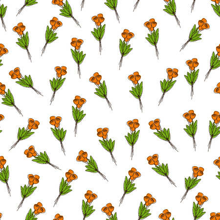 tulips isolated on white background: Seamless pattern with bouquets of orange tulips isolated on white background