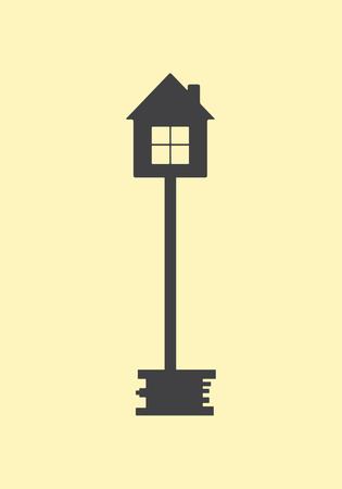 Big grey old style key with house on top.  design element