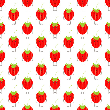 strawberry: Seamless pattern with repeating cute smiling strawberry character isolated on white background Illustration