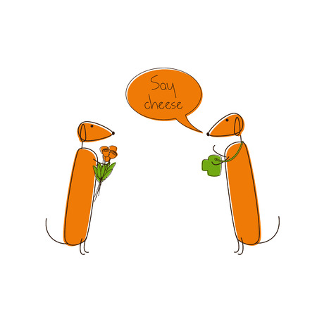 foxy: Two cute brown contoured foxy colored dachshunds. One with camera, another with bouquet of flowers, speech bubble with lettering Say cheese over them isolated on white background. Traveling concept, design element