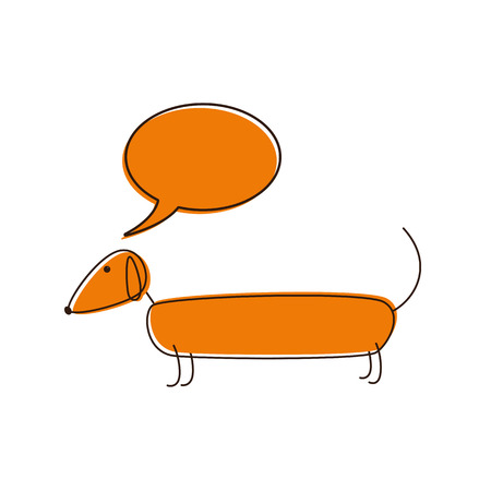 Cute foxy colored dachshund with brown contour, closed eyes, brown nose, curled tail and speech bubble over it isolated on white background. template, design element