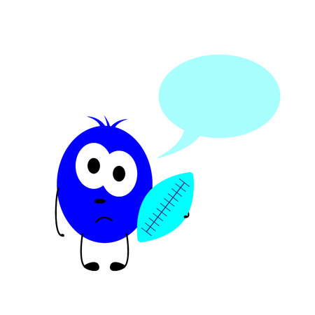 Little sad navy colored monster with big oval eyes, black nose and mouth holds blue rugby ball in his hand and speech bubble over him isolated on white background. Socialization concept Ilustração
