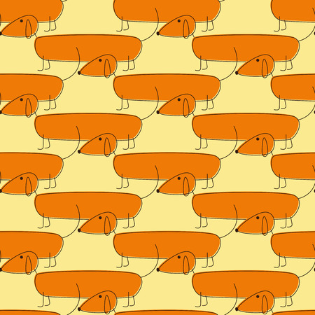 foxy: Seamless pattern with cute foxy colored dachshunds with brown contour Illustration