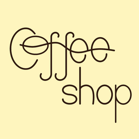 flaxen: Brown colored lettering coffee shop isolated on flaxen background. Logo template, design element Illustration