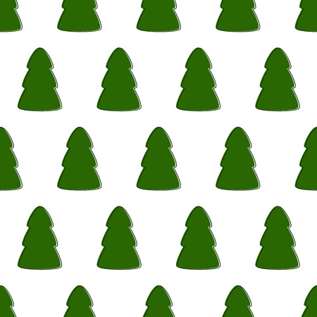 staggered: Seamless pattern with repeating green contoured fir trees arranged in staggered rows isolated on white background Illustration