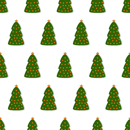 manmade: Seamless pattern with repeating green contoured fir trees decorated with orange balls and stars arranged in staggered rows isolated on white background