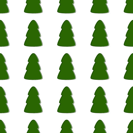manmade: Seamless pattern with repeating green contoured fir trees isolated on white background Illustration