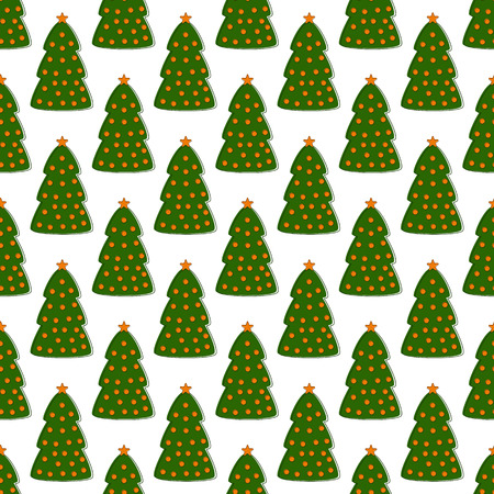 staggered: Seamless pattern with repeating green contoured fir trees decorated with orange balls and stars arranged in staggered rows and isolated on white background