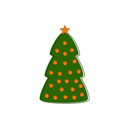 manmade: Green contoured Christmas tree decorated with orange balls and star isolated on white background Illustration