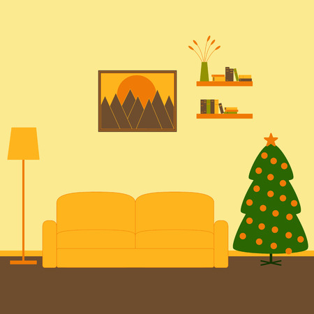 living room wall: Living room interior with sofa, floor lamp, two bookshelves with books, framed painting with mountains at sunset on the wall and decorated Christmas tree Illustration