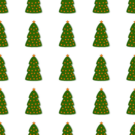 manmade: Seamless pattern with repeating green contoured Christmas trees decorated with orange balls and stars isolated on white background