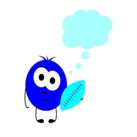 celadon: Little sad navy colored monster with big oval eyes Illustration