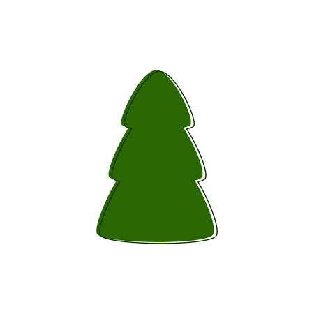 contoured: Green contoured fir tree on white background