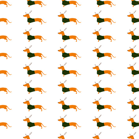 badger dog: Seamless pattern with cute dachshund wearing Christmas suit