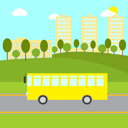 sward: Landscape with bushes trees, green lawn, hills, yellow bus riding on the road, beige buildings and blue sky with white clouds and bright sun at the background. School  public transport illustration