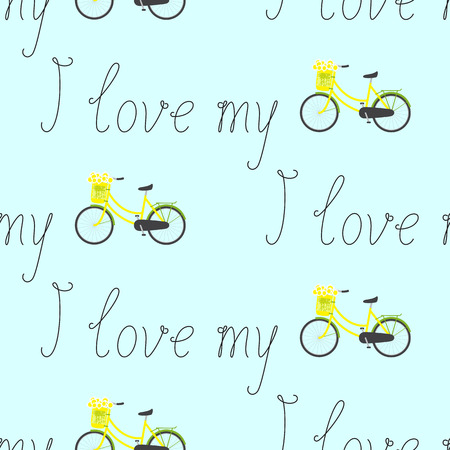handlebar: Seamless pattern with repeating calligraphic lettering I love my and bicycle with yellow colored female frame and pannier on handlebar with big bouquet of chamomiles in it isolated on light blue background Illustration