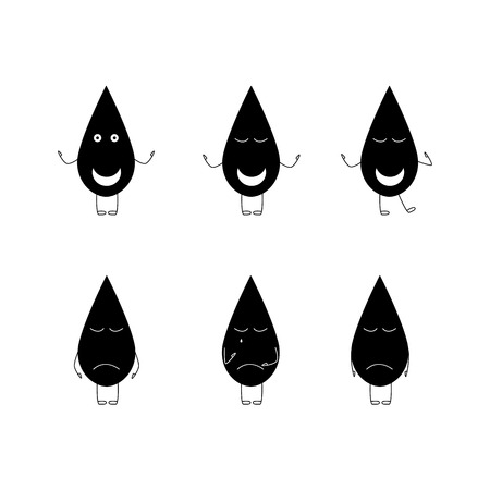 Set of oil drop characters. Three happy and three gloomy. Rising and falling of oil prices concepts