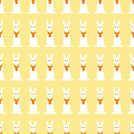 carotene: Seamless background with repeating bunny holding carrot heart Illustration