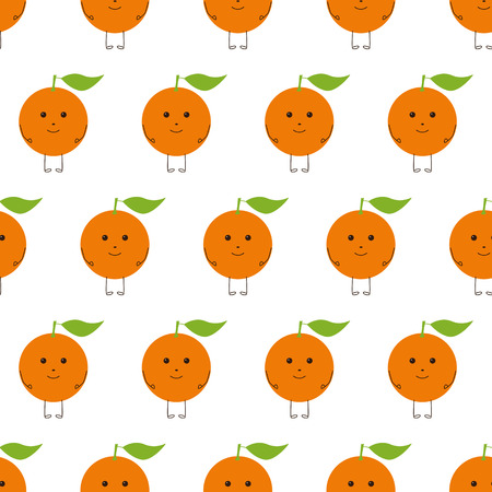 brown eyes: Seamless pattern with repeating bright colored orange fruit character with green leaf on top, brown eyes, legs and hands isolated on white background. Flat style illustration