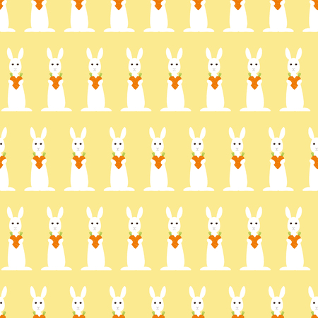cartoon hare: Seamless pattern with repeating bunny holding carrot heart arranged in staggered rows and isolated on ginger background