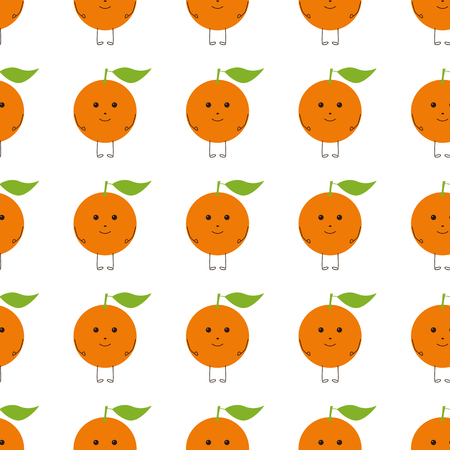 brown eyes: Seamless background with repeating orange colored citrus fruit character with green leaf on top, brown eyes, legs, hands and big smile isolated on white. Flat style childlike illustration Illustration